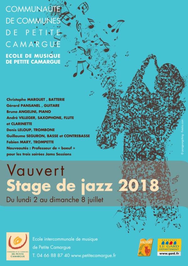 affiche stage de jazz 2018 école de musique de Vauvert