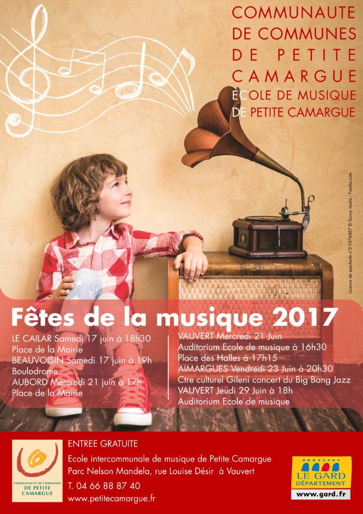 affiche dêtes de la musique école de musique de petite camargue