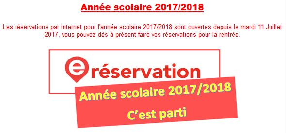 réservation année scolaire 2017/2018