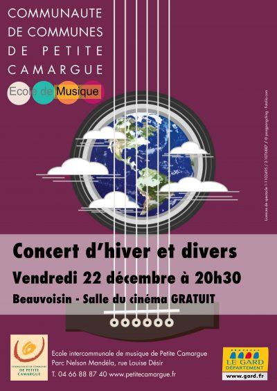 affiche concert d'hiver et divers école de musique de petite camargue