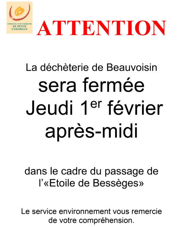 information déchéterie de Beauvoisin