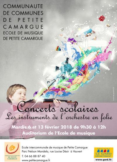 """affiche concert """"Concerts scolaires"""" école de musique de petite camargue"""