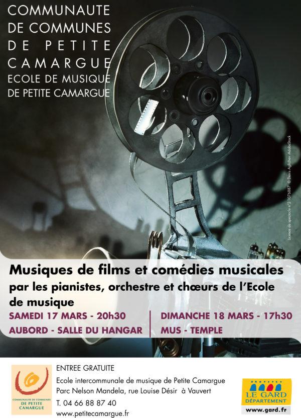 """affiche concert """"musique de films et comédies musicales"""" école de musique de petite camargue"""
