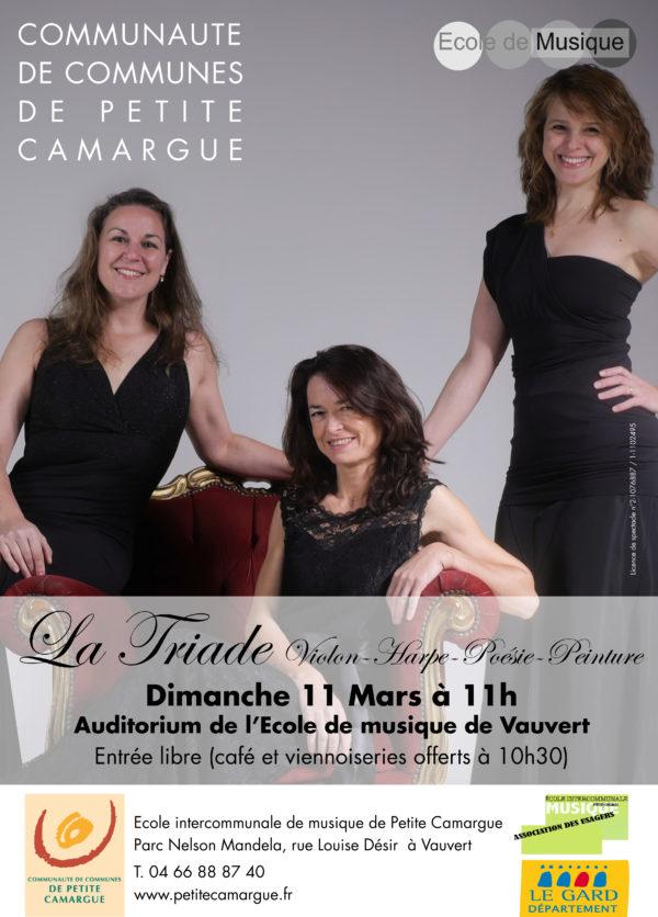 """affiche concert """" La triade"""" école de musique de petite camargue"""