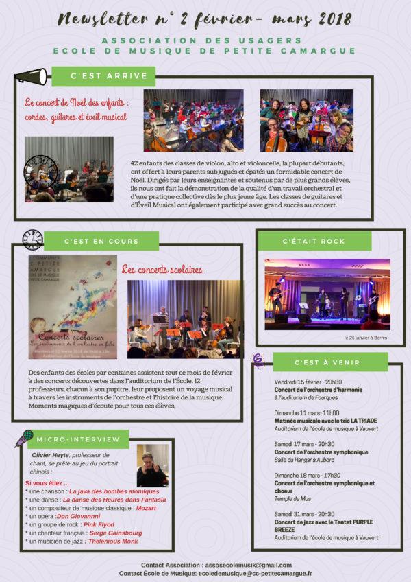 newsletter février mars associations des usagers de l'école de musique de petite camargue