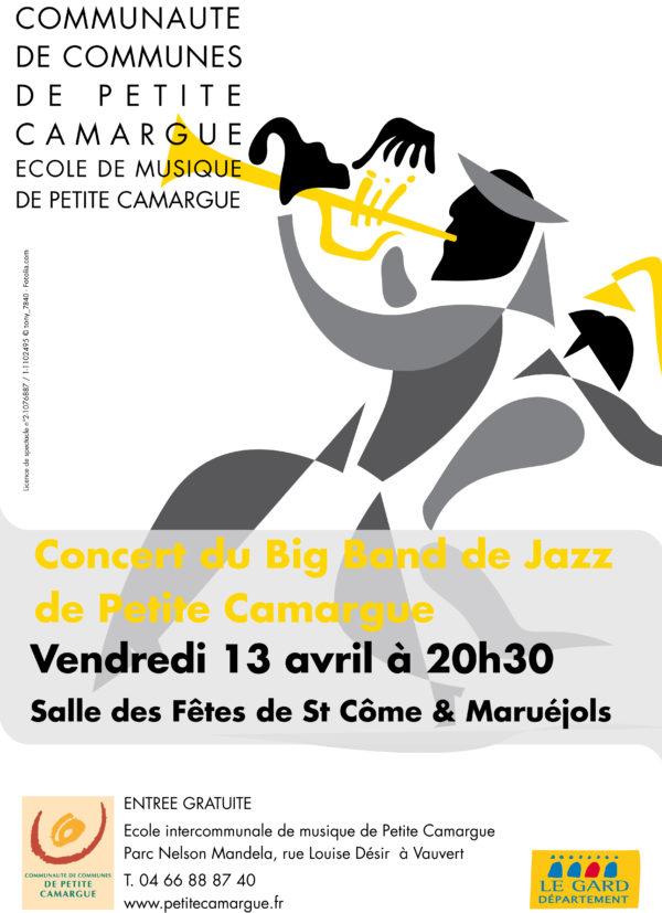 """affiche concert """"Big Band de jazz"""" école de musique de petite camargue"""