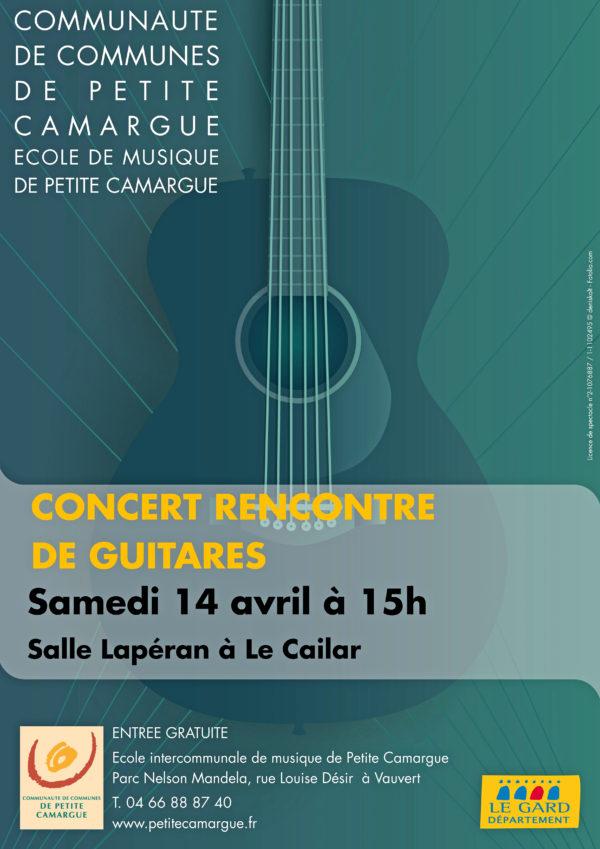 """affiche concert """"rencontre de guitares"""" école de musique de petite camargue"""