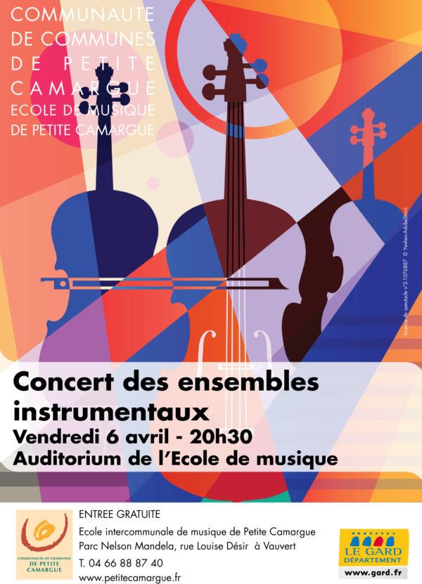 """affiche concert """"ensembles instrumentaux"""" école de musique de petite camargue"""