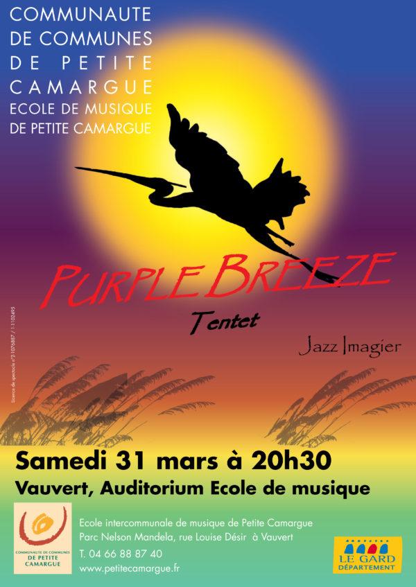"""affiche """"purple breeze"""" école de musique de petite camargue"""