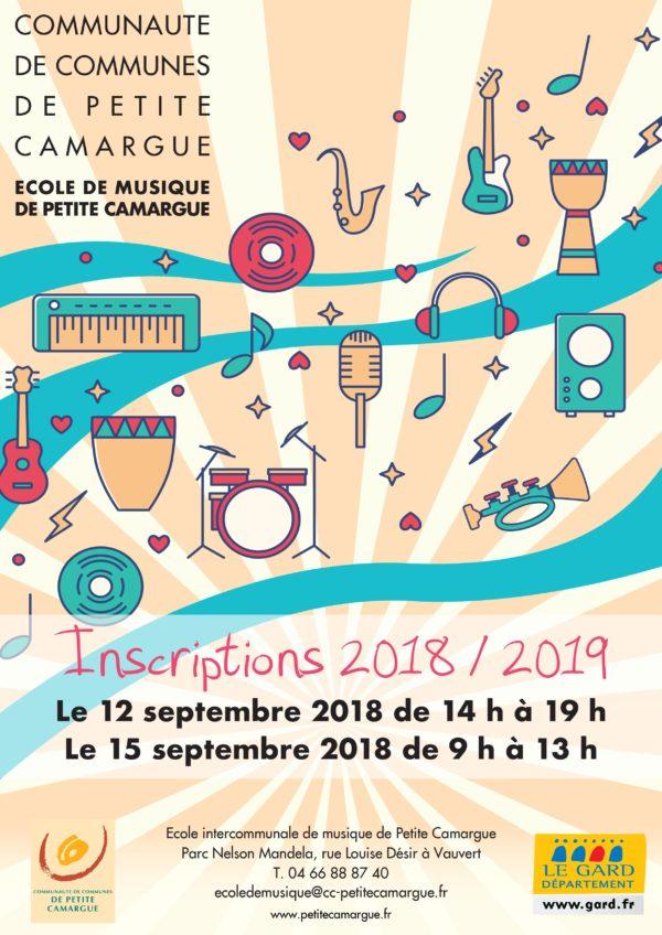 affiche inscriptions 2018/2019 ecole de musique de petite camargue