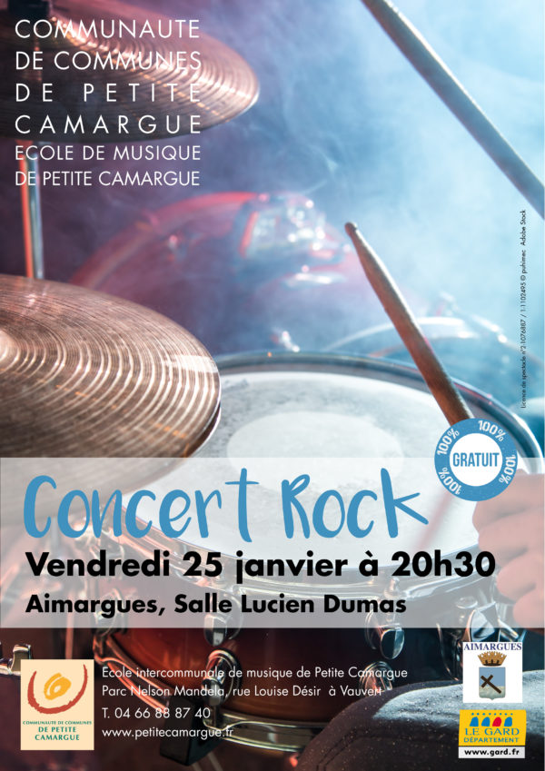 Affiche concert rock par l'ecole intercommunale de musique